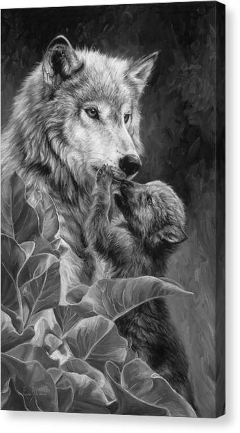 Animal Mother Canvas Print - Precious Moment - Black And White by Lucie Bilodeau