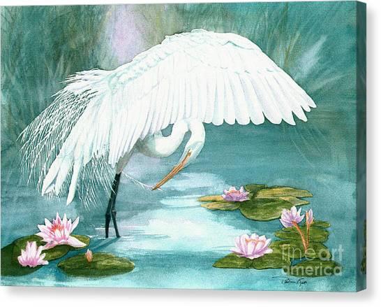 Preening Egret Canvas Print by Pauline Ross