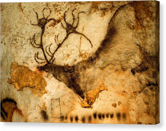 Limestone Caves Canvas Print - Prehistoric Artists Painted A Red Deer by Sisse Brimberg
