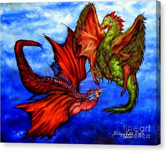 Prehistoric Fighting Fowl Canvas Print