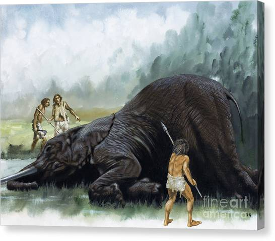 Mammoth Cave Canvas Print - Prehistoric Hunters by David Nockels