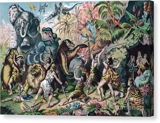 Mammoth Cave Canvas Print - Prehistoric Man Battling Ferocious Animals by American School