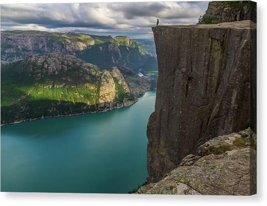 Preikestolen Canvas Print - Preiekestolen - The Pulpit Rock, Norwegian Cliff Tourist Destina by BBrave Photo