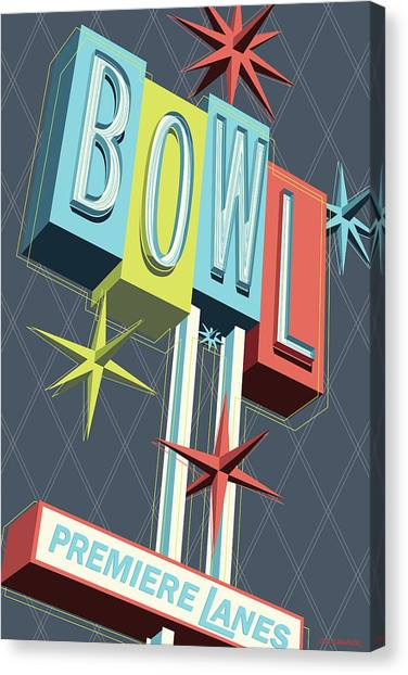 Bowling Alley Canvas Print - Premiere Lanes Bowling Pop Art by Jim Zahniser