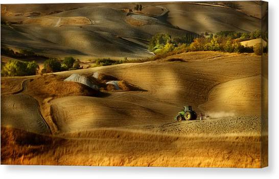 Tractor Canvas Print - Preparation For Sowing - Volterra (pi) - Toscana - Italy by Antonio Grambone