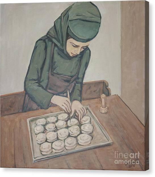 Preparing Communion Bread Canvas Print