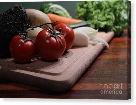 Preparing Vegetables For Cooking Food Canvas Print