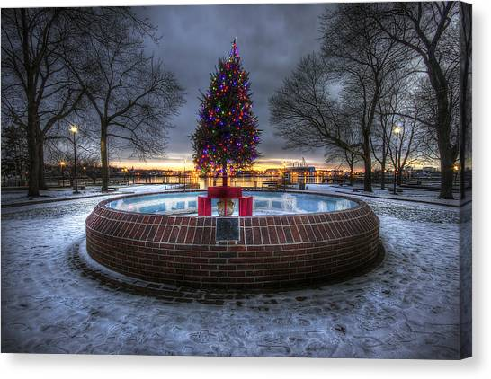 City Sunrises Canvas Print - Prescott Park Christmas Tree by Eric Gendron