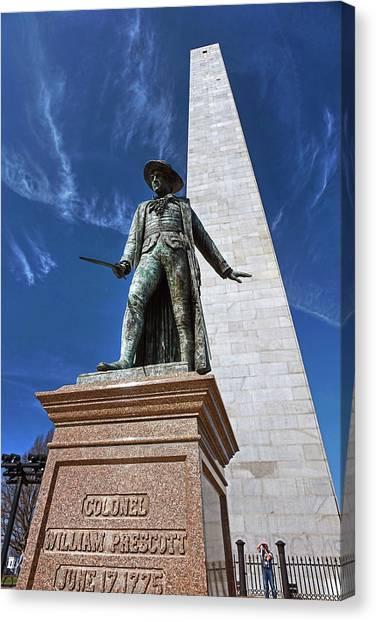 Prescott Statue On Bunker Hill Canvas Print