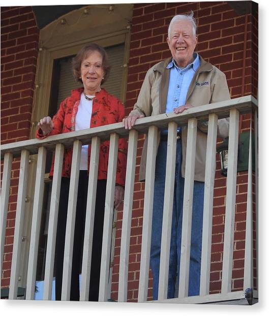 President And Mrs Carter On Plains Inn Balcony Canvas Print