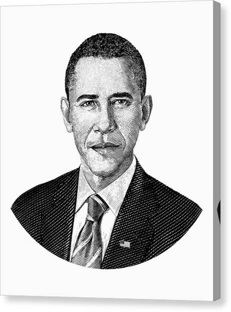 Barack Obama Canvas Print - President Barack Obama Graphic Black And White by War Is Hell Store