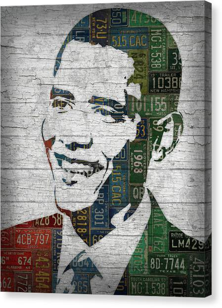 Barack Obama Canvas Print - President Barack Obama Portrait United States License Plates Edition Two by Design Turnpike
