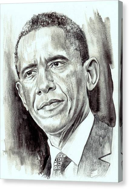 Barack Obama Canvas Print - President Barack Obama by Suzann's Art