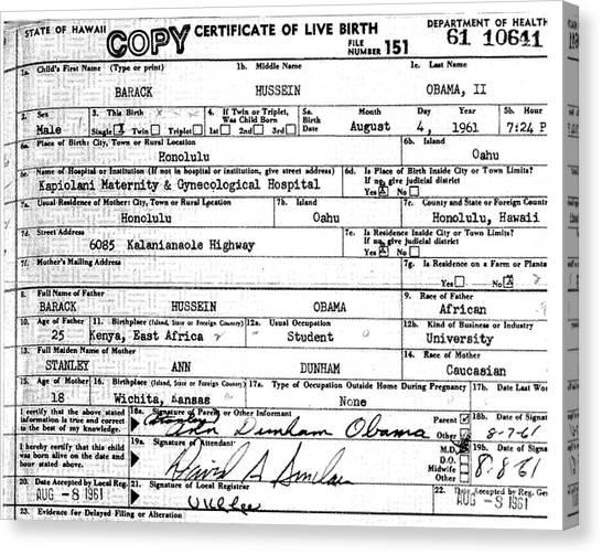 Birth Certificate Canvas Prints | Fine Art America