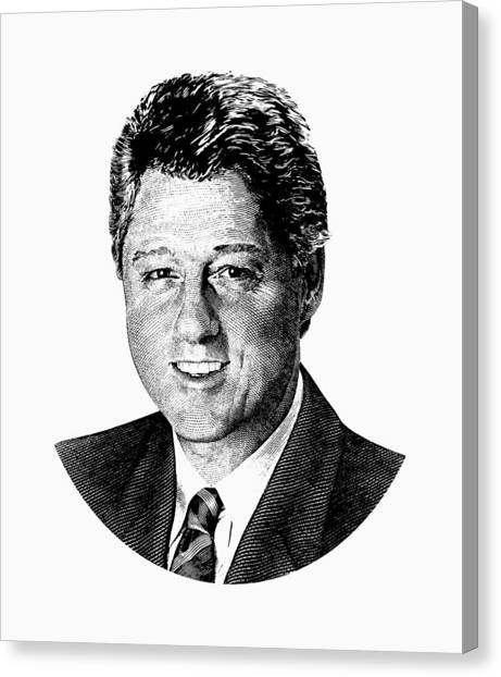 Bill Clinton Canvas Print - President Bill Clinton Graphic - Black And White by War Is Hell Store
