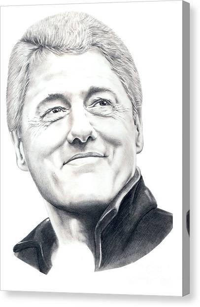 Bill Clinton Canvas Print - President Bill Clinton by Murphy Elliott