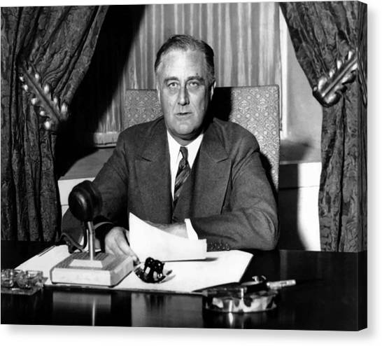 Democratic Canvas Print - President Franklin Roosevelt by War Is Hell Store