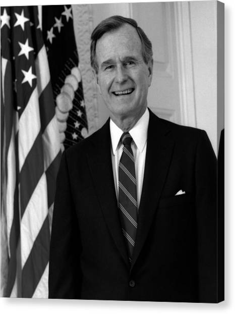 George Bush Canvas Print - President George Bush Sr by War Is Hell Store