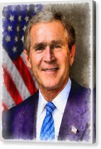 George W. Bush Canvas Print - President George W. Bush by John Springfield