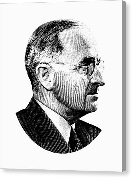 Harry Truman Canvas Print - President Harry Truman Profile Portrait - Black And White by War Is Hell Store
