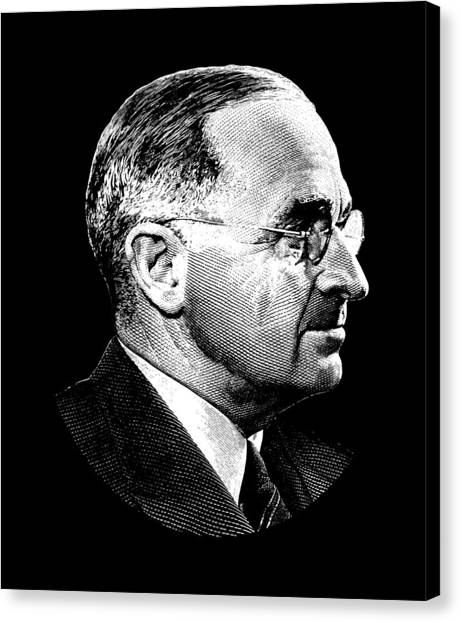 Harry Truman Canvas Print - President Harry Truman Profile Portrait by War Is Hell Store