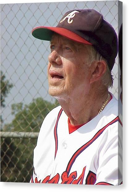 President Jimmy Carter - Atlanta Braves Jersey And Cap Canvas Print