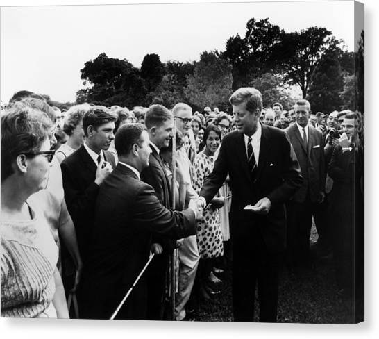 Democratic Presidents Canvas Print - President John F. Kennedy And The Peace Corps by War Is Hell Store