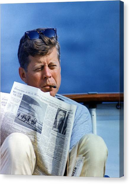 John F. Kennedy Canvas Print - President John Kennedy Smoking A Cigar by Everett