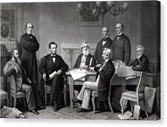 Abraham Lincoln Canvas Print - President Lincoln And His Cabinet by War Is Hell Store