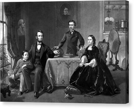 Abraham Lincoln Canvas Print - President Lincoln And His Family  by War Is Hell Store