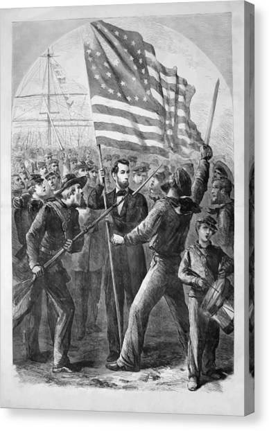 Lincoln Canvas Print - President Lincoln Holding The American Flag by War Is Hell Store