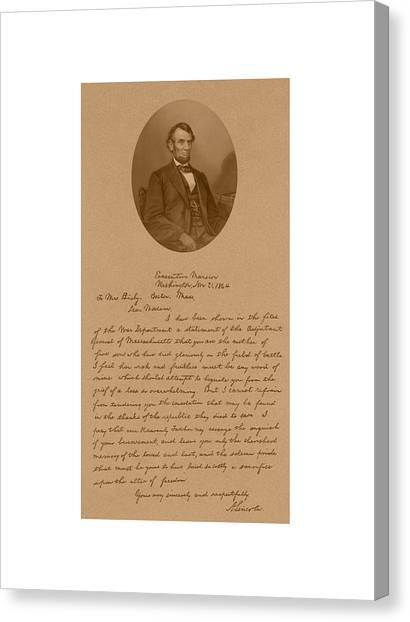 President Canvas Print - President Lincoln's Letter To Mrs. Bixby by War Is Hell Store