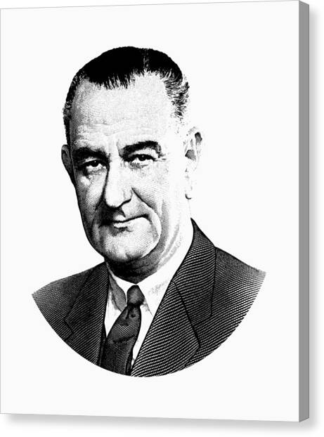 Lyndon Johnson Canvas Print - President Lyndon Johnson Graphic - Black And White by War Is Hell Store