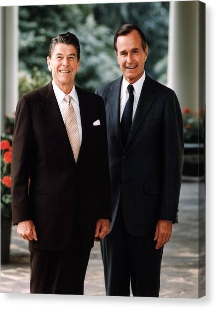 Ronald Reagan Canvas Print - President Reagan And George H.w. Bush - Official Portrait  by War Is Hell Store