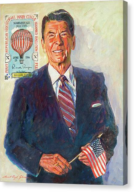Ronald Reagan Canvas Print - President Reagan Balloon Stamp by David Lloyd Glover