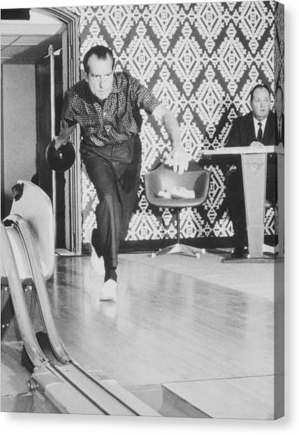 Bowling Ball Canvas Print - President Richard Nixon Bowling At The White House by War Is Hell Store