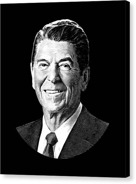 Ronald Reagan Canvas Print - President Ronald Reagan Graphic - Black And White by War Is Hell Store