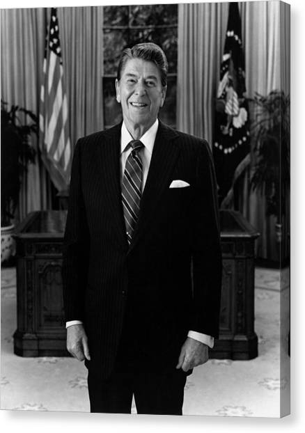 Ronald Reagan Canvas Print - President Ronald Reagan In The Oval Office by War Is Hell Store