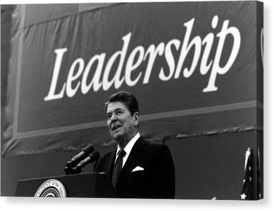 Ronald Reagan Canvas Print - President Ronald Reagan Leadership Photo by War Is Hell Store