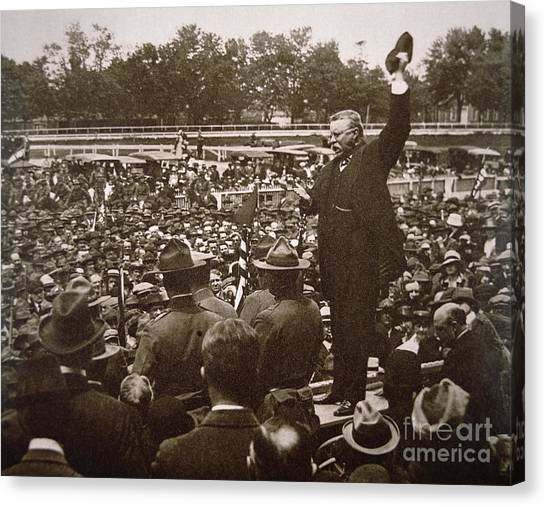 Political Science Canvas Print - President Theodore Roosevelt Speaking At A Recruiting Rally In June 1917 by American School