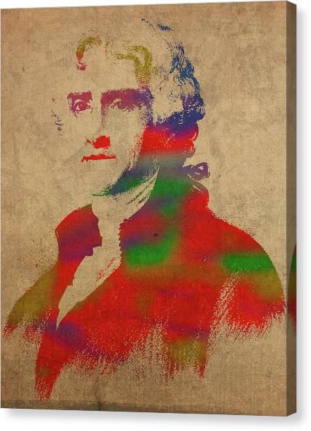 President Jefferson Canvas Print - President Thomas Jefferson Watercolor Portrait by Design Turnpike
