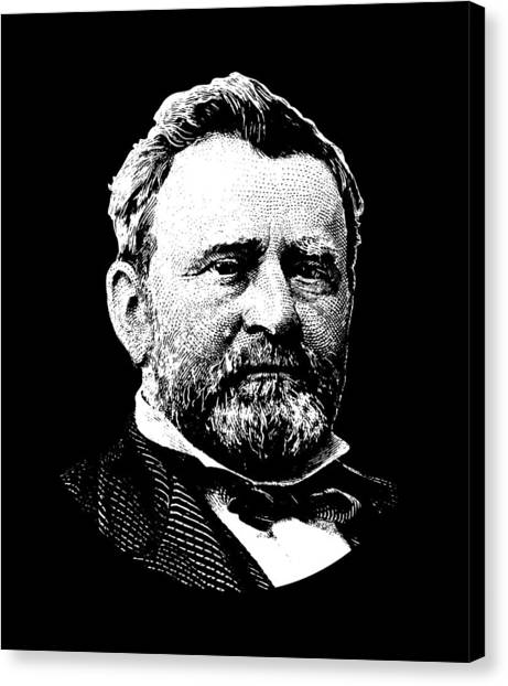 Us Civil War Canvas Print - President Ulysses Grant Graphic - Black And White by War Is Hell Store