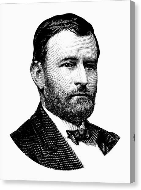 Us Civil War Canvas Print - President Ulysses S. Grant Graphic White 2 by War Is Hell Store