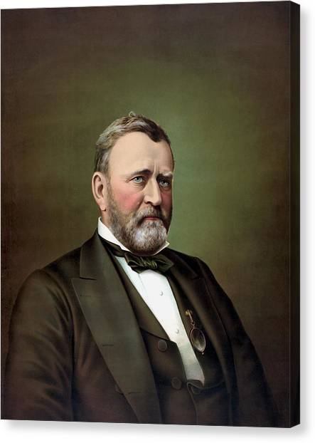 History Canvas Print - President Ulysses S Grant Portrait by War Is Hell Store