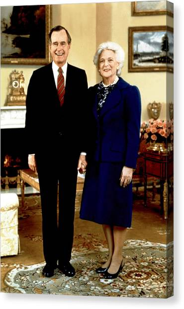 First Lady Canvas Print - Presidential Portrait Of George Bush by Everett
