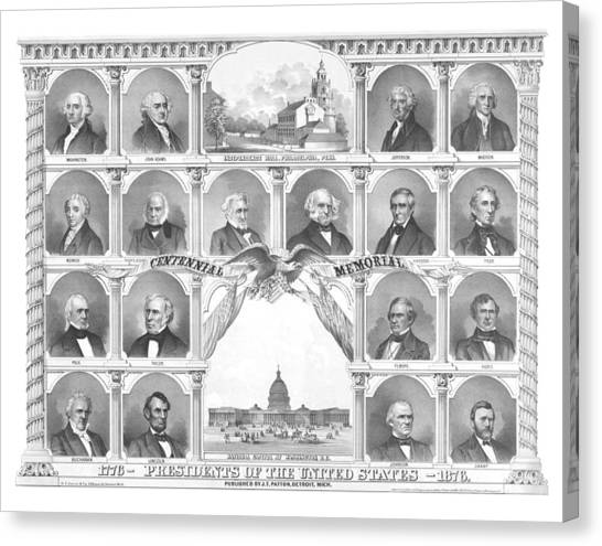 Capitol Building Canvas Print - Presidents Of The United States 1776-1876 by War Is Hell Store