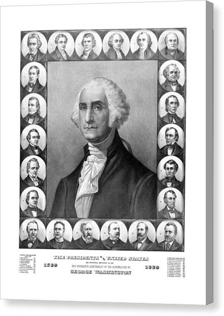 George Washington Canvas Print - Presidents Of The United States 1789-1889 by War Is Hell Store