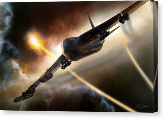 Linebackers Canvas Print - Press On To Target by Peter Chilelli