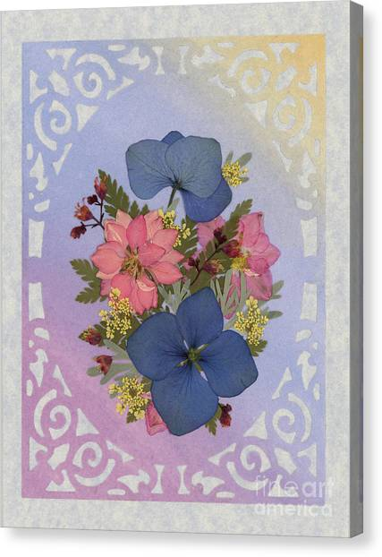 Pressed Flowers Arrangement With Pink Larkspur And Hydrangea Canvas Print