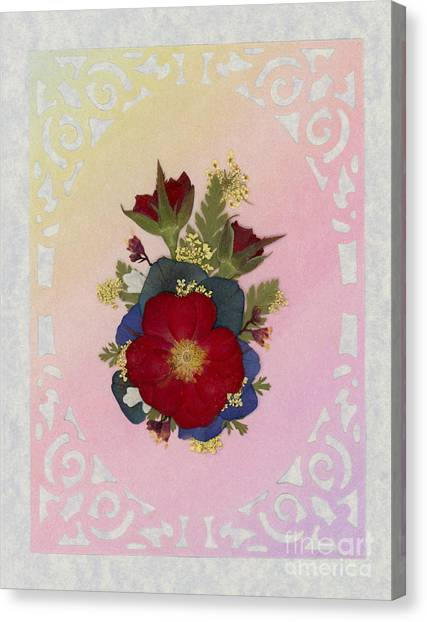 Pressed Flowers Arrangement With Red Roses Canvas Print